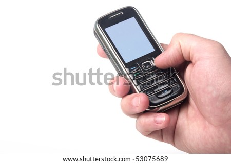 Cell phone in hand. Clipping path of screen for easy edit included. - stock photo