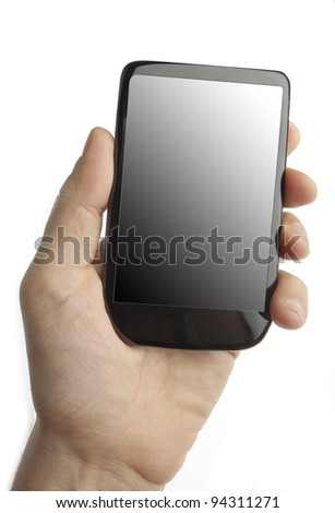 Cell phone in male hand (original design) - stock photo