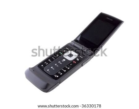 Cell phone isolated on white - stock photo