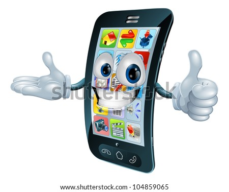 Cell phone man character giving a thumbs up - stock photo