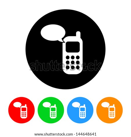 Cell Phone Message Icon with Color Variations.  Raster version, vector also available. - stock photo