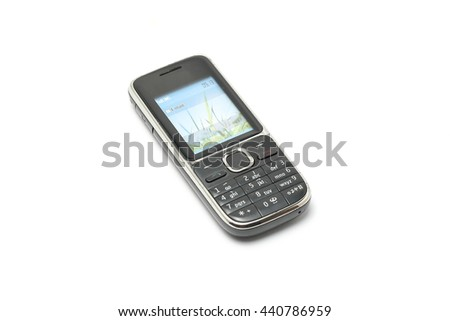 Cell phone mobile old vintage on white background    - stock photo