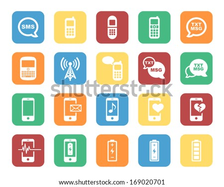 Cell Phone / Mobile Phone Colorful Icon Set.  Raster version. - stock photo