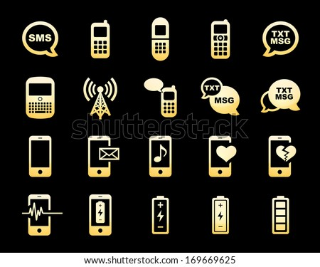 Cell Phone / Mobile Phone Icons Gold Icon Set.  Raster version. - stock photo