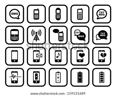 Cell Phone / Mobile Phone Square Icon Set.  Raster version. - stock photo