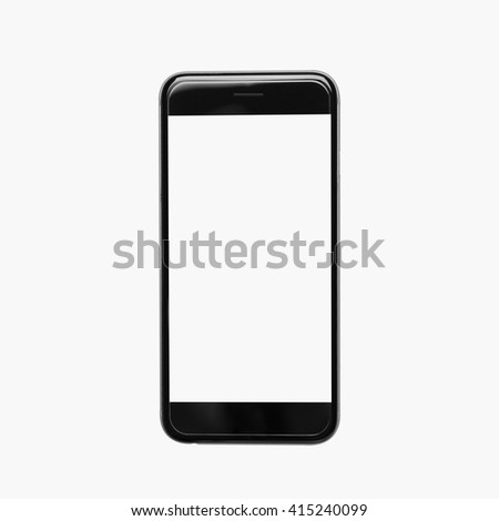 Cell phone on white background. black color smartphone isolated white. beautiful smartphone. smartphone white color screen. closeup black color iphon. - stock photo