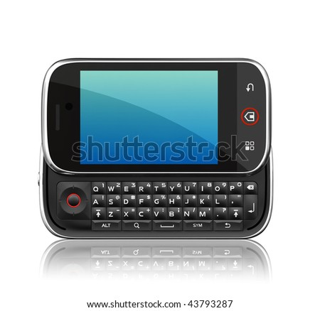 Cell phone on white background. 3d render scene. Clipping path. - stock photo