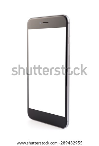 Cell phone on white background, isolated, close-up - stock photo