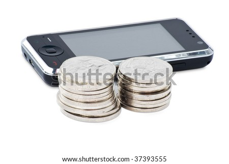 Cell phone, stacks of coins concept e-commerce and payment for communication. Isolated on white background with clipping path. - stock photo