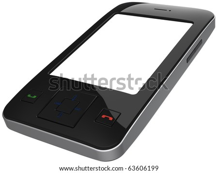 Cell phone. This is a detailed 3D render (Hi-Res). Isolated on white