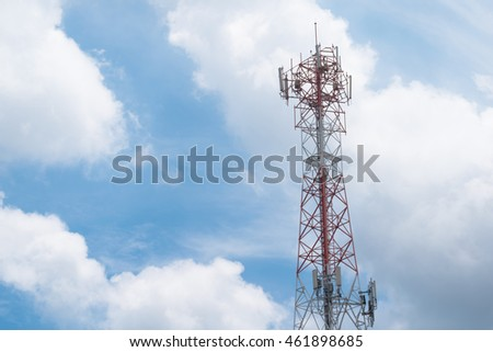 cell phone tower on sky and cloud