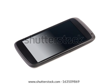 Cell phone with clipping path. Isolated on a white background. - stock photo