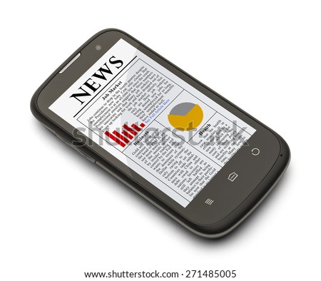 Cell Phone with News Paper on Screen Isolated on White Background.