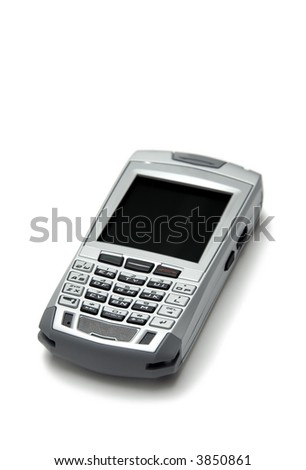 Cell phone with organizer over white background - stock photo