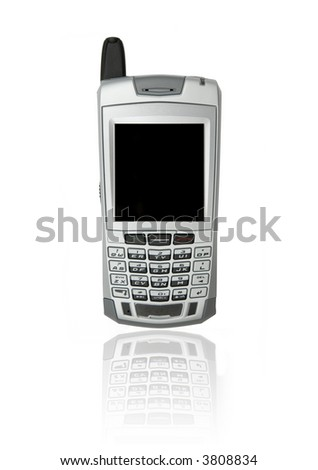 Cell phone with organizer over white background with reflection - stock photo