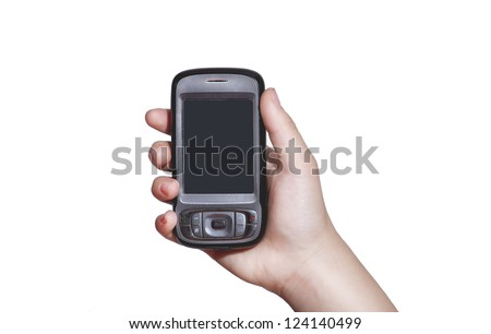 Cell phone with touchscreen in female hand on gray background