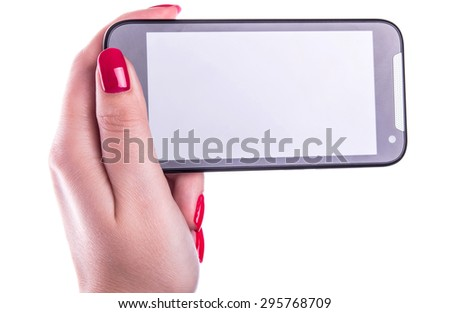 cell phone with touchscreen in female hand with French manicure nails on white background - stock photo