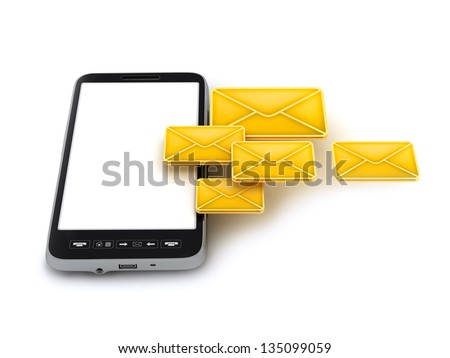 Cell phone with white screen and envelopes - stock photo