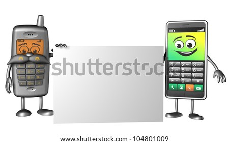 cell phones holding card - stock photo