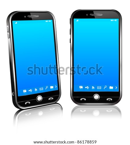 Cell Smart Mobile Phone 3D and 2D - Raster version - A vector file is also available - stock photo