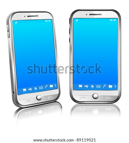 Cell Smart Mobile Phone White Version 3D and 2D - Raster Version - stock photo