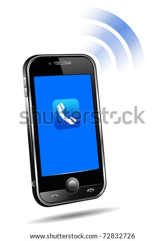 Cell Smart Phone Ringing Mobile - raster version - stock photo