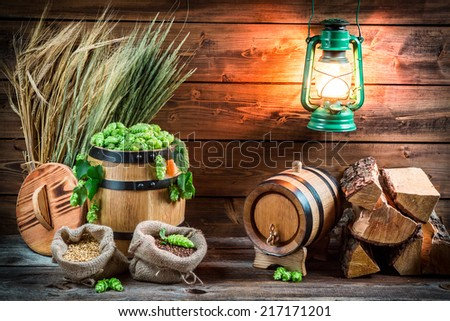 Cellar full of ingredients for homemade beer - stock photo