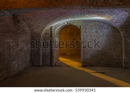 Cellar room made of brick with curved ceiling and an entrance with a  shaft of light beaming in. Scary and sense of mystery.  Who's there?  Whats behind the entrance?