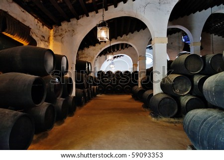 Cellar with barrels of sherry. Spain - stock photo