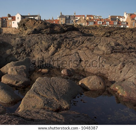 Cellardyke's (near St.Andrews) rocky coastline looking back towards the village.