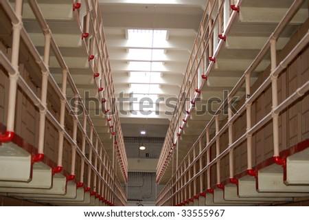 Cellblock at Alcatraz - stock photo