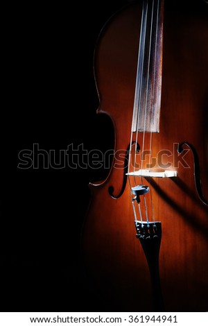 Cello close up music instrument closeup cello isolated on black background Orchestra instrument violoncello - stock photo