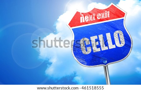 cello, 3D rendering, blue street sign