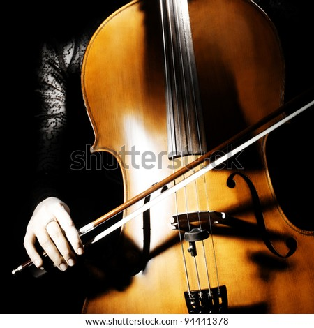 Cello musical instrument cellist hand. Classical musician violin music playing - stock photo