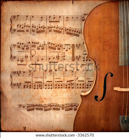 cello on ancient music sheet, rusted old yellow paper with guitar - stock photo