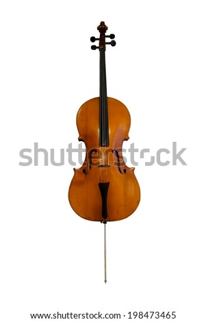 Cello orchestra musical instrument isolated on white. Classical music instruments - stock photo