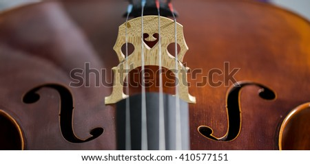 Cello strings closeup in violin maker worshop - stock photo