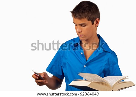 Cellphone addiction, highly distractive from studying - stock photo