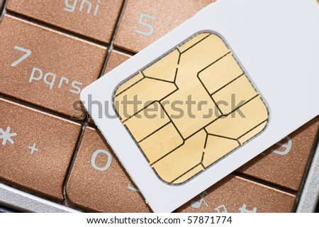 cellphone and sim card - stock photo