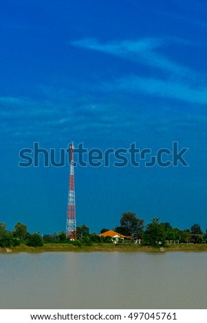 Cellphone Antenna tower at the countryside.