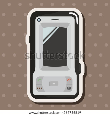 cellphone, cartoon stickers icon