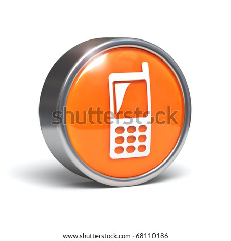 Cellphone - 3D button with clipping path - stock photo