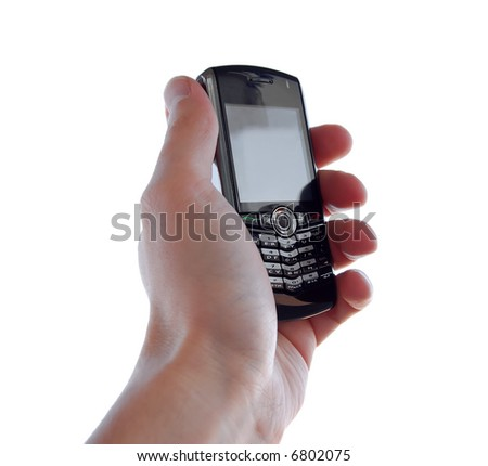 Cellphone in hand - isolated - stock photo