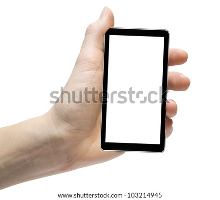 cellphone iphones tablet in hand for advertisement. - stock photo