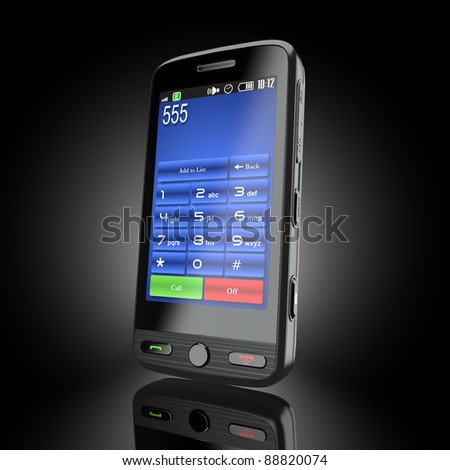 Cellphone. Mobile phone on black background. 3d - stock photo