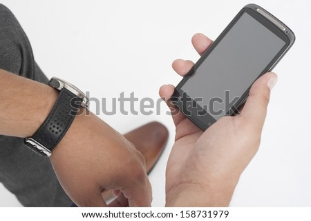 Cellphone, selective focus, white background - stock photo