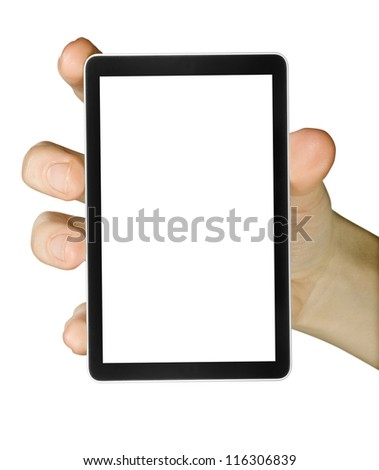 cellphone tablet in hand for advertisement.  - stock photo
