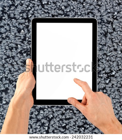 cellphone tablet like ipades in hand for advertisement. computer  - stock photo