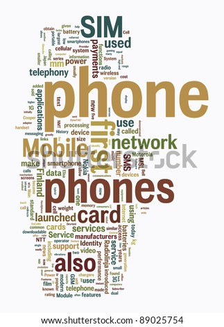 cellphone text clouds on white background - stock photo