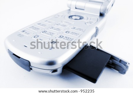 cellphone with SD/MMC card - stock photo